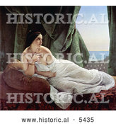 Historical Painting of Odalisque Reclining, Nude and Wrapped in a Sheet, by Francesco Hayez by Al