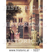 Historical Painting of Women and Girl Trying to Catch Apples from an Apple Tree in a Courtyard, Damascus: Jew's Quarter by Frederic Lord Leighton by Al