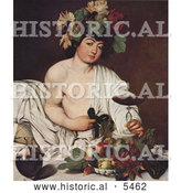 Historical Painting of Young Man Wearing Grapes and Leaves on His Head, Holding a Glass of Red Wine, Seated by Fruit by Al