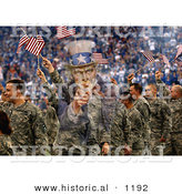 Historical Photo Illustration of Uncle Sam Composited over Soldiers Waving American Flags in the Background by Al