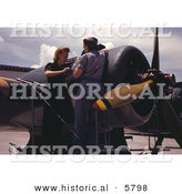 Historical Photo of 2 Female Riveters Assembling a Plane by Al