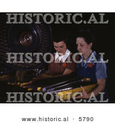 Historical Photo of 2 Female Riveters Punching Rivet Holes by Al