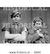 Historical Photo of 2 Glassworker Boys Grinning While Posing with Their Arms Crossed In1909 - Black and White Version by Al