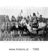 December 13th, 2013: Historical Photo of 6 Crow Indians on Horseback 1908 - Black and White by Al