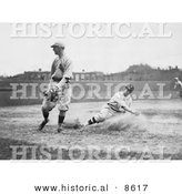 Historical Photo of a Baseball Player Sliding for Third Base While Baseman Waits for the Ball - Black and White Version by Al