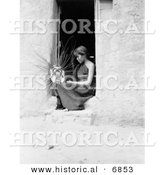 Historical Photo of a Female Hopi Native American Indian Weaving a Basket 1908 - Black and White Version by Al
