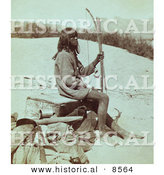 Historical Photo of a Maiman, Mohave Indian Sitting with a Bow and Arrow by Al