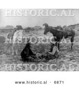 Historical Photo of a Native American Indian and a Cowboy Playing Cards - Black and White Version by Al