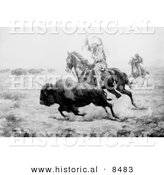 Historical Photo of a Native American Indian Hunting Bison on Horseback 1901 - Black and White Version by Al