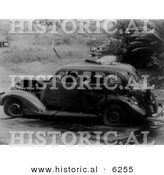 Historical Photo of a Person Inside an Old Car After the Pearl Harbor Bombing - Black and White Version by Al