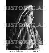 Historical Photo of a Ramallah Woman Wearing a Dowry Coin Headdress - Black and White Version by Al