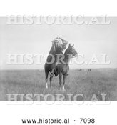 Historical Photo of a Sioux Indian Man on a Horse 1907 - Black and White by Al
