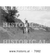 Historical Photo of a Sioux Indian on Horse 1907 - Black and White by Al