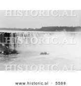 Historical Photo of a Steamboat near the Mist at the Bottom of Horseshoe Falls, Niagara Falls - Black and White Version by Al