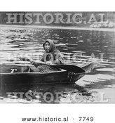 Historical Photo of a Tlingit Woman Paddling a Boat, Hoonah, Alaska 1903 - Native American Indian - Black and White Version by Al