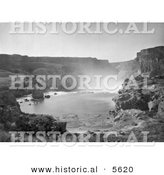 Historical Photo of a Top View of the Shoshone Falls Waterfalls in Snake River Canyon, Idaho - Black and White Version by Al