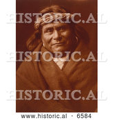 Historical Photo of Acoma Indian Man Wearing Headband 1904 - Sepia by Al