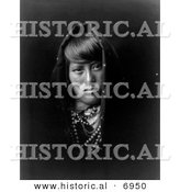 Historical Photo of Acoma Indian Woman - Black and White Version by Al