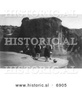 Historical Photo of Acoma Indians at a Watering Hole - Black and White Version by Al