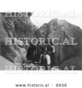 Historical Photo of Acoma Indians with Pottery - Black and White Version by Al