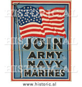 Historical Photo of American Flag for Military Recruiting - Vintage Military War Poster 1917 by Al