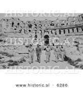 Historical Photo of American Military Officers at the Roman Coliseum - Black and White Version by Al