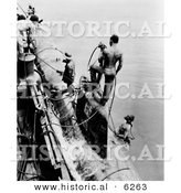 Historical Photo of American Sailors Fastening a Submarine - Black and White Version by Al