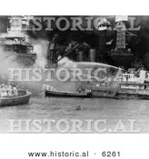 Historical Photo of American Sailors Fighting Flames on the Attack of Pearl Harbor - Black and White Version by Al