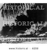 Historical Photo of an Explosion During the Attack on Pearl Harbor - Black and White Version by Al