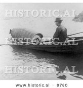 Historical Photo of Annie Edson Taylor in a Barrel, Being Rowed by Boat to a Drop off Point in Niagara - Black and White Version by Al