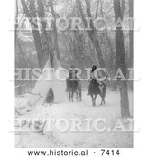 December 13th, 2013: Historical Photo of Apsaroke Camp in Winter, People on Horses 1908 - Black and White by Al