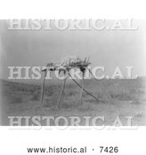 December 13th, 2013: Historical Photo of Apsaroke Indian Burial Platform 1908 - Black and White by Al