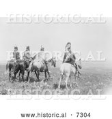 Historical Photo of Apsaroke Indian Chief and Staff 1905 - Black and White by Al