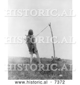 December 13th, 2013: Historical Photo of Apsaroke Indian Man During a Piercing Ritual 1908 - Black and White by Al