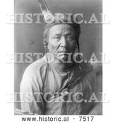 Historical Photo of Apsaroke Indian Man Named Flathead Woman 1908 - Black and White by Al