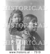 Historical Photo of Apsaroke Indian Mother with Child on Her Back 1908 - Black and White by Al