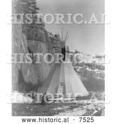 Historical Photo of Apsaroke Indian Stretching Hide 1908 - Black and White by Al