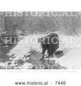 Historical Photo of Apsaroke Indian Woman Gathering Water 1908 - Black and White by Al