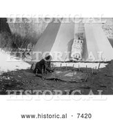 December 13th, 2013: Historical Photo of Apsaroke Indian Woman Preparing Hide 1908 - Black and White by Al