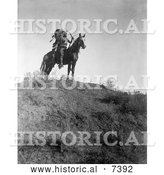 December 13th, 2013: Historical Photo of Apsaroke Man with Bow and Arrows on Horse 1908 - Black and White by Al