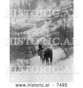 Historical Photo of Apsaroke Men Hunting in Winter 1908 - Black and White by Al