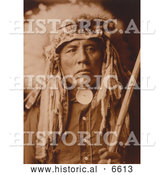 Historical Photo of Apsaroke Native American Man Called Curley 1905 - Sepia by Al