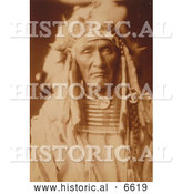 Historical Photo of Apsaroke Native American Man, Young Hairy Wolf 1905 - Sepia by Al