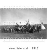 Historical Photo of Apsaroke Native Americans on Horses 1908 - Black and White by Al