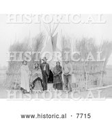 Historical Photo of Arappaho Indians by Tipi 1904 - Black and White by Al