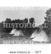 Historical Photo of Assiniboine Indian Camp with Tipis 1908 - Black and White by Al