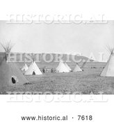 Historical Photo of Atsina Camp with Tipis 1908 - Black and White by Al