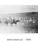 Historical Photo of Atsina Indians on Horses, Overlooking Encampment 1908 - Black and White by Al
