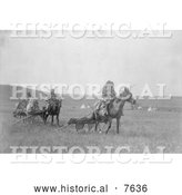 Historical Photo of Atsina Native Americans Moving Their Camp 1908 - Black and White by Al