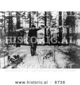 Historical Photo of Babe Ruth Carrying a Log for Firewood - Black and White Version by Al